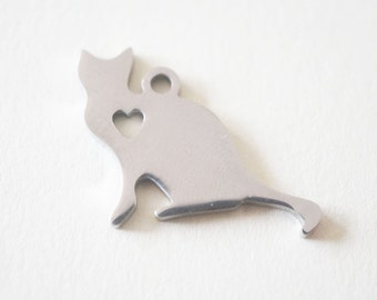 1 Stainless Steel ( 304) Cat Silhouette Charm Pendant - 17mm