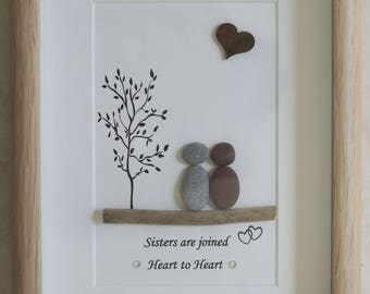 Pebble Art framed Picture- Sisters