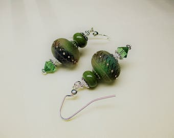 Round Lampwork Earrings in Olive Green and Blueberry