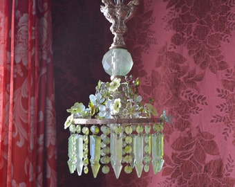 """Petite Crystal Chandelier with Blossoms and Rhinestones, 14""""h. x 7""""w., One of a Kind"""