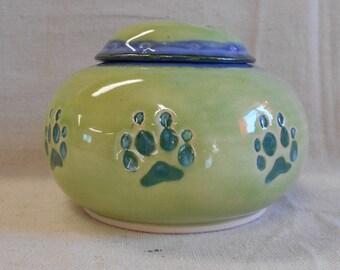 Medium Size Porcelain Dog Paw Urn, Real Dog Paw - Lime Green, Mottled Blue, and Teal Underglaze