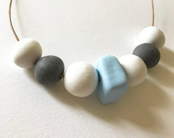 Minimalist Geometric Necklace White Gray Blue