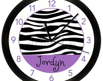 Trendy Purple Zebra Print Personalized Nursery Wall Clock