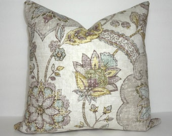INVENTORY REDUCTION Vintage Look Grey Plum Blue and Yellow Floral Pillow Cover Living Room Decor Decorate with Pillows Size 18x18