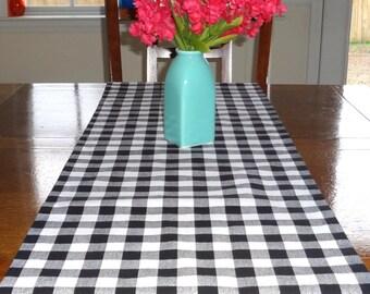 Black & White Checkered Table Runner Tablecloth Black Plaid Table Runner Table Top 12x72