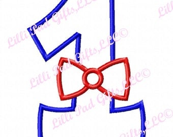 Bowtie 1 - Applique - Machine Embroidery Design - 9 sizes