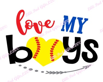 love MY boys-baseball heart - Cut File - Instant Download - SVG and DXF for Silhouette Studio & other Cut Machines