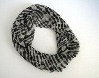 1960s VERA NEUMANN Infinity Scarf - Black White Geometric Loop Scarf -  Silk Scarf - Womens Fashion Accessories - Collectible - Gift Idea