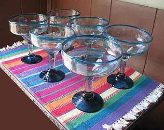 "Vintage Set of 6 Hand Blown Margarita Daiquiri Glasses; Aqua & Clear; Wide Heavy Rims 4-1/2"" diameter; 6"" height"