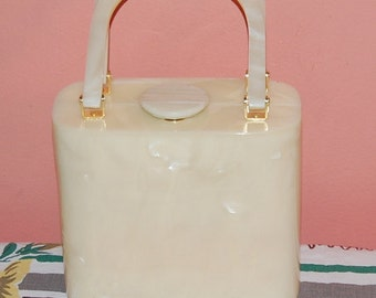 Lucite Box Purse 80s does 50s Pearl Swirl Gorgeous Vintage