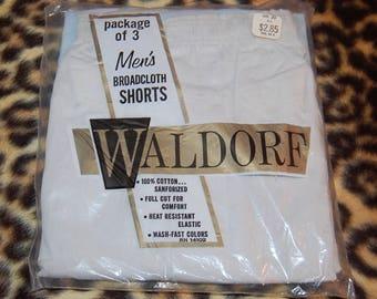 Boxer Shorts Men's Vintage Broadcloth Cotton Sanforized By Waldorf Vintage 60's Package of 3