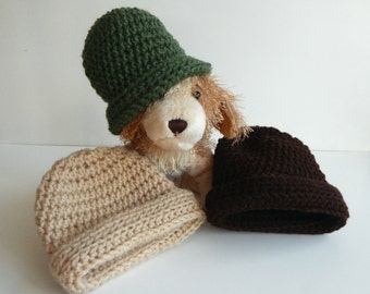 Baby Boy Crochet Hat in Green, Beige & Brown - Set of 3 Winter Caps - Newborn