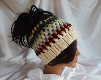 Messy Bun Hat Pony Tail Hat - Crochet Woman's Fashion Hat - Beige Multi Color