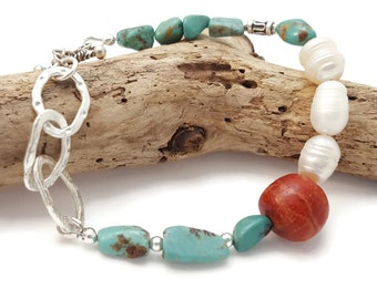 Boho Bracelet - Bohemian beaded bracelet - Turquioise Bracelet - Jasper bracelet - Beaded Boho style - Indie Jewelry