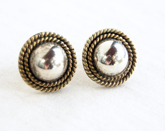 Sterling Silver Button Earrings Pierced Posts Vintage Mexican Round Rope Dome Taxco Mexico