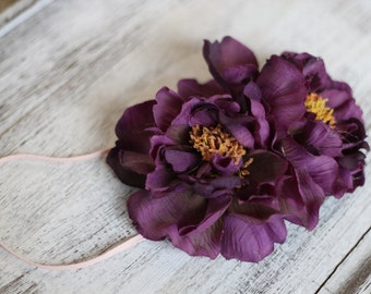 Deep Purple Floral Headband, Big floral Headband
