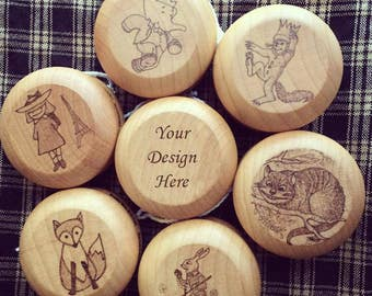 Wooden Yo-Yo, Alice in Wonderland, Babar, Madeline, Where the Wild Things Are - Customized Name Birthday Gifts Under 20