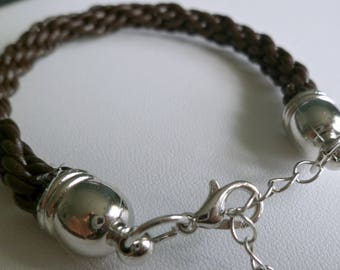Brown leather Kumihimo braided bracelet, adjustable size, boho bracelet, unisex bracelet