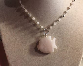 Pink Necklace - Rose Quartz Jewellery - Sterling Silver Jewelry - Gemstone Pendant - Fish - Chain