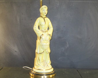 Vintage Mid Century Asian Figural Table Lamp