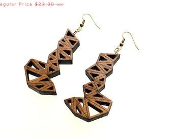 geometric earrings, wood jewelry eco friendly modern - Bamboo Triangle Cluster Earrings Large. laser cut, summer earrings