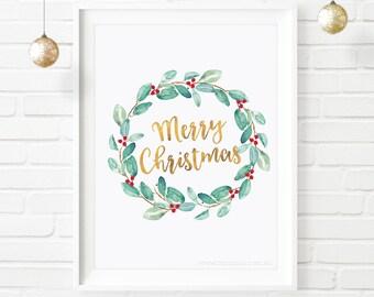 Christmas printable, wall decor, Merry Christmas, faux gold foil, festive holiday print, xmas decorations, printable quote, christmas art