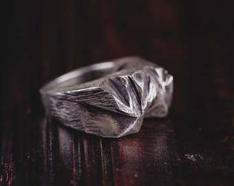 Sterling Silver Mountain Chunky Ring- Mens Statement Hollow Rings-Hand Sculpted Mountain Range Rings-Unisex Jewellery