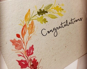 OOAK Multi-Colored Leaves Congratulations Greeting Card