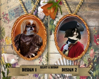 Japanese Chin Jewelry/Japanese Chin Pendant or Brooch/Japanese Chin Portrait/Dog Handmade Porcelain/Custom Dog Jewelry by Nobility Dogs