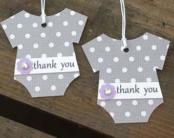 Baby Bodysuit Thank You Tags - Gray Polka Dot Tags - Purple Flowers with Rhinestone Centers  - Baby Shower Favor Gift Tags