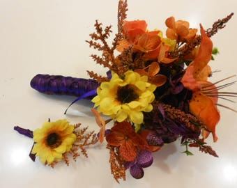 ORANGE PURPLE GREEN Wedding Bouquet Boutonniere Sunflowers Tiger Lily Hydrangea. Ribbon or Burlap Handle. Rustic wedding Bridesmaid Toss