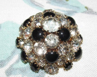 Vintage Domed Black Glass and White Rhinestone Brooch ~ Unsigned Warner