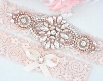 BLUSH PINK Rose Gold  Crystal pearl Wedding Garter Set, Stretch Lace Garter, Rhinestone Crystal Bridal Garters