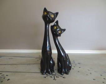 Mid Century Modern Black Siamese Cat Figurines Ceramic Black Cats