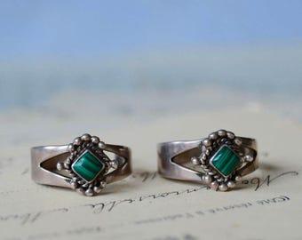 Sterling and Malachite Pierced Hoop Earrings - Vintage