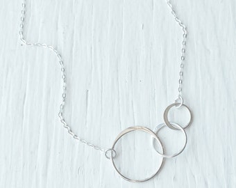 Three Links Necklace - Three Circles Necklace - Sterling Silver or Gold Filled - Past, Present, Future - Dainty Silver Chain