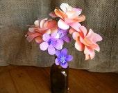 NEW- Watercolors - Painted paper flowers - Mini bouquet - Peach, tangerine, violet