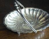 anique silver plate smal oval ornate serving bowl bon bon dish