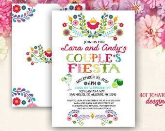 Fiesta Invitation- Couple's fiesta Invitation- couples  fiesta shower Cinco de Mayo Invitation-Mexican Invitation-Margarita- Printable 5x7