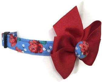 Chambray Rose Floral Dog Collar size Small