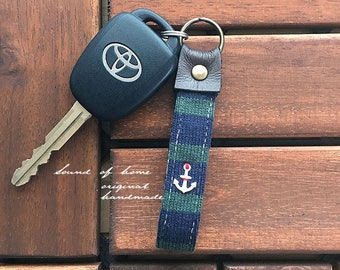 Nautical bw anchor unisex leather keychain key holder gift idea Japan zakka