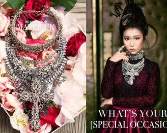 Tribal Bib Necklace, statment necklace, Ethnic Necklace, prom Necklace, boho Necklace, choker Necklace, bohemian jewelry, gypsy jewelry