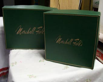 Vintage Marshall Fields Gift Boxes Lot of 2 Iconic Gift Box Marshall Fields Chicago IL Green Gift Box