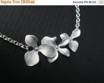 SALE Orchid Flower Necklace, Orchid Necklace, Flower Necklace, Matte Silver Flower, Bridesmaid Necklace, Bridesmaids Gifts, Bridal