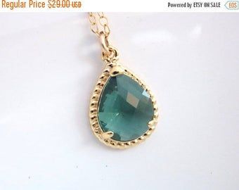 SALE Teal Necklace, Gold Teal Necklace, Aqua Green Glass, Gold Filled, Wedding Jewelry, Bridesmaid Necklace, Bridesmaid Jewelry, Bridesmaid