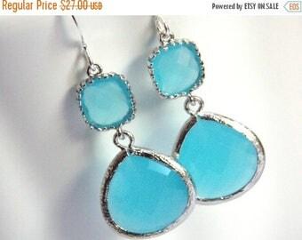SALE Ocean Blue Earrings, Glass, Silver Blue Earrings, Light Blue, Aqua Turquoise, Bridesmaid Earrings, Bridal Earrings Jewelry, Bridesmaid