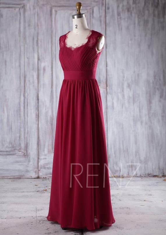 Wine Red Chiffon Bridesmaid Dress,