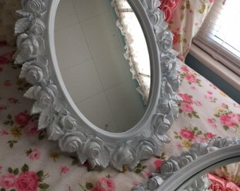 Vintage framed mirror, country cottage, baby girl nursery, shabby chic roses, choice of color