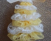 Ivory Lace and Yellow Lace Tree Ornament