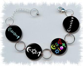 COEXIST Symbols Tolerance Diversity Civil Rights Peace Anti Racism Sexism Discrimination Altered Art Button Charm Bracelet with Rhinestone